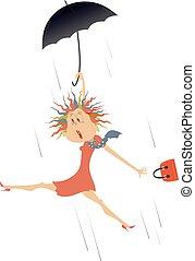 venteux, illustration, jour, parapluie, femme