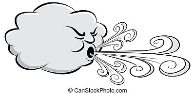 venteux, vent, souffler, jour, nuage