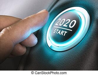 venti, mille, due, 2020, inizio, anno, concept.