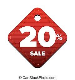 venti, percento, vendita, pricetag, vettore, rosso