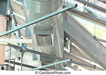 ventiláció, csövek, közül, levegő, feltétel