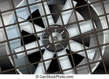 ventiláció, ipari, rajongó