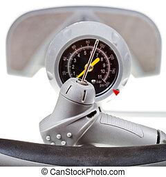 ventil, och, manometer, av, handbok, luft pumpa, tillsluta