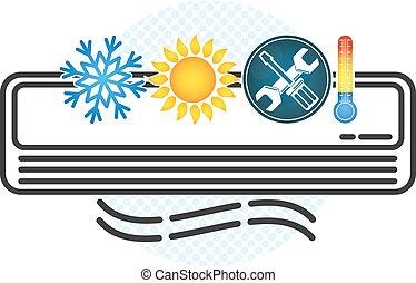 ventilação, ar, símbolo, condicionamento
