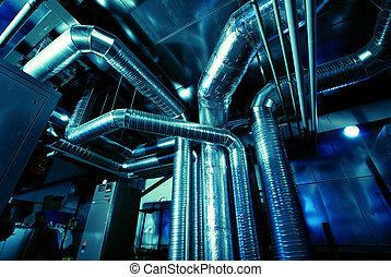 ventilação, canos, de, um, ar, condição