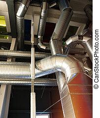 ventilação, canos, e, canais, de, industrial, ar, condição