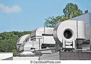 ventilação, industrial, sistema