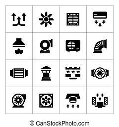 ventilação, jogo, condicionamento, ícones