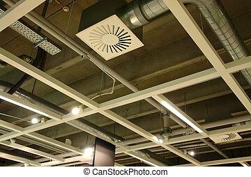 ventilação, modernos, fábrica, sistema