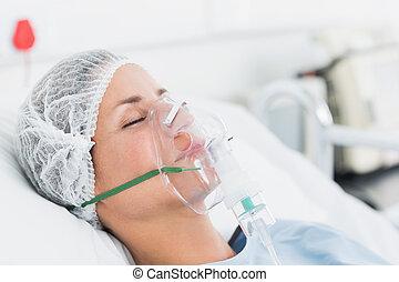 ventilação, Recebendo, paciente, femininas,  artificial