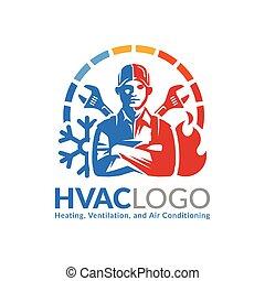 ventilación, template., condicionamiento, o, aire, diseño, logotipo, hvac, calefacción, icono