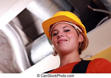 ventilación, trabajador, joven, hembra, expuesto