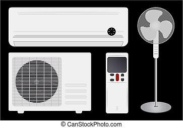 ventilador, condicionamiento, aire