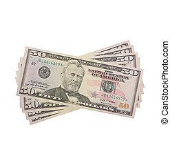 ventilador, dólares, aislado, blanco
