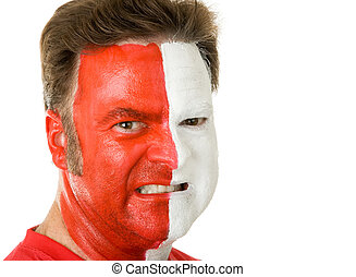 ventilador deportivo, en, pintura de la cara