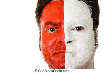 ventilador, en, pintura de la cara
