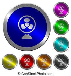 ventilador mesa, luminoso, coin-like, redondo, color, botones
