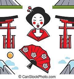 ventilador, montaña, geisha, japonés, símbolos, puerta de...