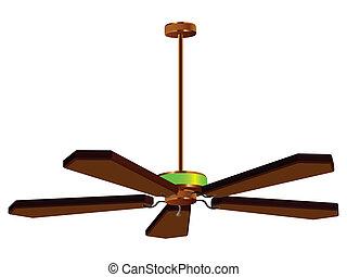 ventilador teto, lâmpada, isolado