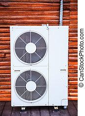 ventilador, uso, conforto, interior., processo, removendo, distribuir, calor, conditioned, indoor, térmico, device., elétrico, condicionamento, umidade, quality., unidades, condicionador, ar, melhorar