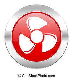 ventilador, vermelho, círculo, cromo, teia, ícone, isolado