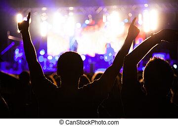 ventiladores, en, noche, concierto