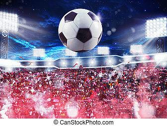 ventiladores, multitud, estadio