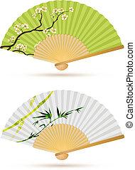 ventiladores, plegadizo, dos, japonés