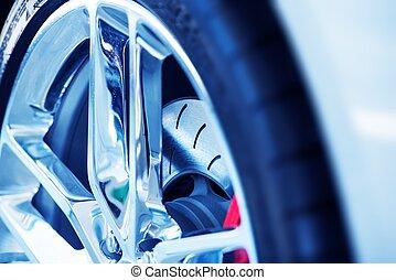ventilated, autó, szuper, fék