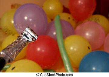 ventilateur, ballons, coup, anniversaire, coup, souffler,...