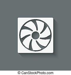 ventilateur, conception, symbole