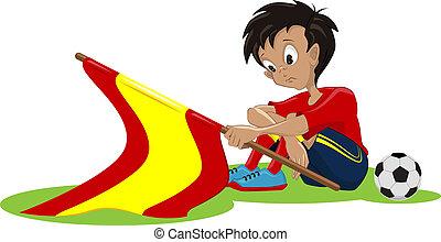 ventilateur football, drapeau espagnol, laissé tomber