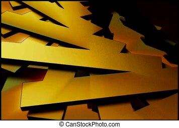 ventilateur, jaune, lames