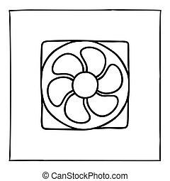 ventilateur, mince, main, griffonnage, icône, logo, ligne., dessiné, informatique, ou, noir