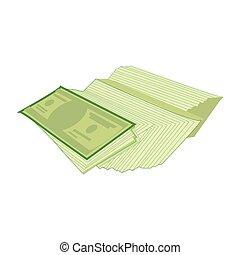 ventilateur, pile, dollar, paquet, vert, espèces, papier