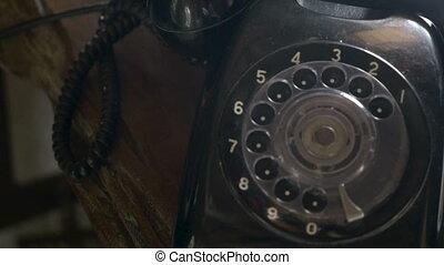 ventilateur, plafond, coup, reflet, téléphone rotatif, noir, chariot, vieux, 4k