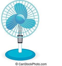 ventilateur, table, vecteur, -, illustration