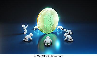 ventilateurs, -, bitcoin, illustration, 3d