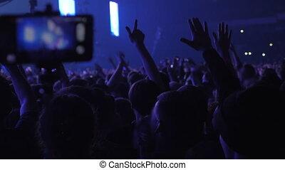 ventilateurs, centaines, concert, musique, vigoureux
