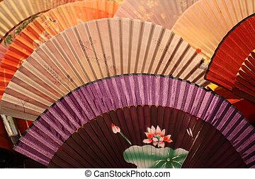 ventilateurs, chinois, fond