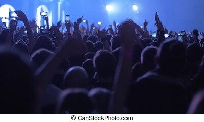 ventilateurs, danse, concert, foule, musique