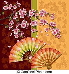 ventilateurs, deux, fond, sakura