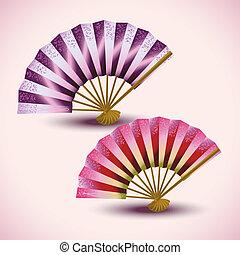 ventilateurs, ensemble, japonaise, coloré, isolé