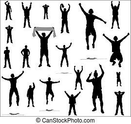 ventilateurs, ensemble, poses, sports