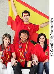 ventilateurs, football, espagnol