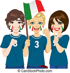 ventilateurs, football, italien