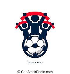 ventilateurs, football, scarves.