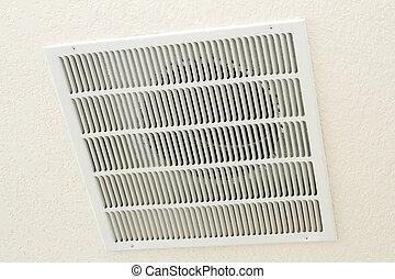 ventilatierooster, plafond, terugkeren, lucht