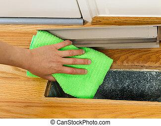 ventilatierooster, vloer, binnen, hitte, poetsen, stof