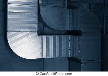 ventilating, tubos, sistema